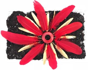 flower image made from feathers