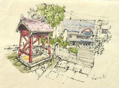 和紙に万年筆で風景を描き、色鉛筆で彩色した古山さんの作品。