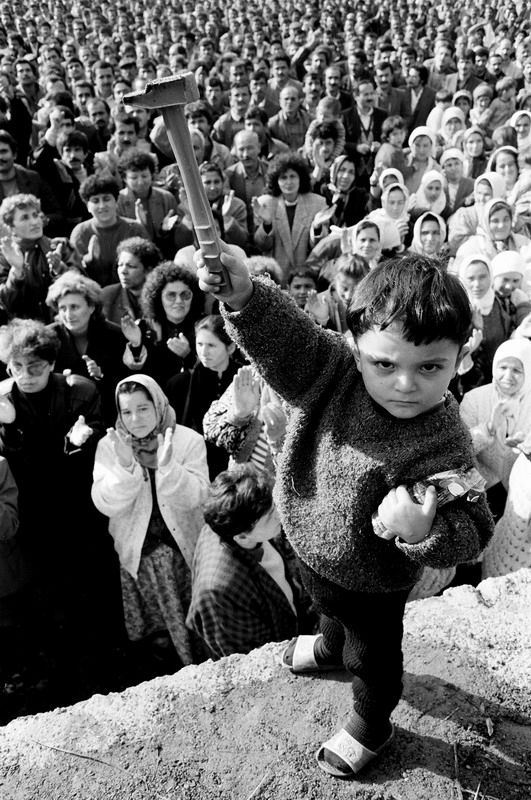 3 - 1991. A young boy at a protest by coal miners in Zonguldak, Turkey.