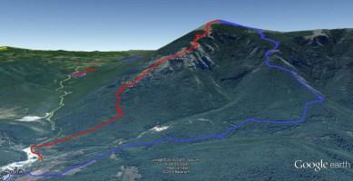 Плаво: стандардни северни успон; Црвено: преко Ситне стене. Разлика је очигледна!