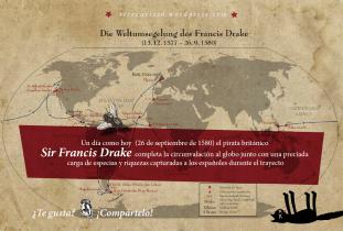 26 de septiembre de 1580: el pirata británico Sir Francis Drake completa la circunvalación al globo junto con una preciada carga de especias y riquezas capturadas a los españoles durante el trayecto