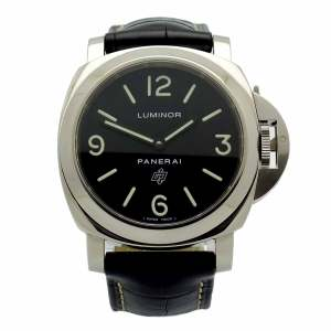 Panerai Luminor PAM000 in stainless steel with black dial and black leather strap