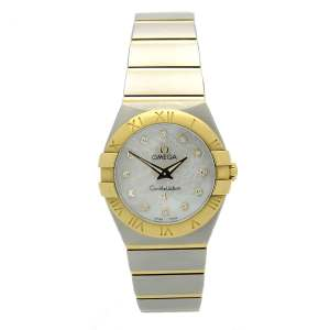 Ladies Omega Constellation in 18kt yellow gold and stainless steel. Mother of pearl dial with diamond hour markers. 18kt yellow gold and stainless steel bracelet.