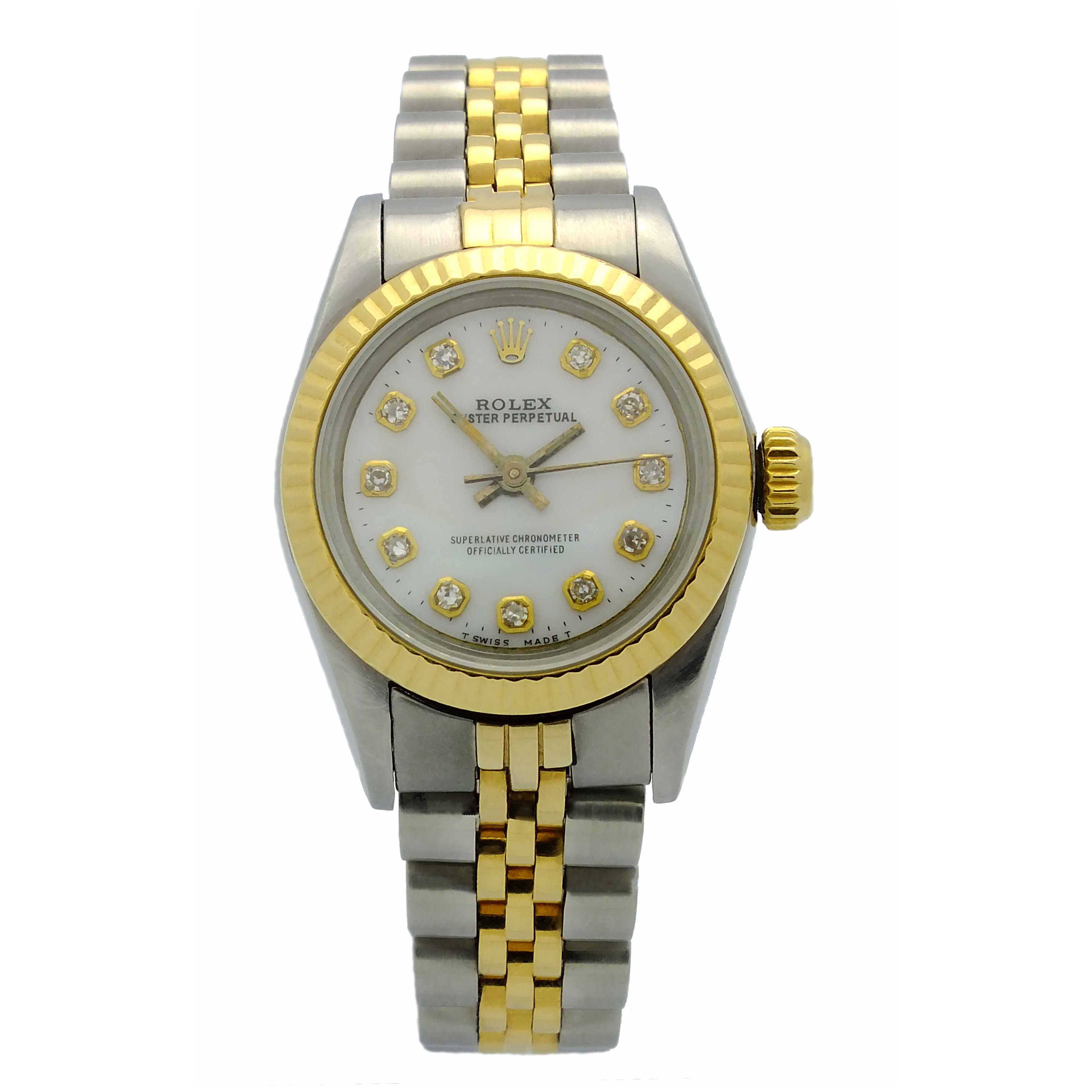 Ladies Rolex Oyster Perpetual (two tone) in 18kt yellow gold and stainless steel with jubilee bracelet, white dial with diamond hour markers
