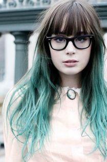bangs + green ombré = ♥