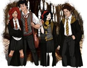Ariel e Eric como estudantes de Hogwarts de Harry Potter pelo artista Eira1893