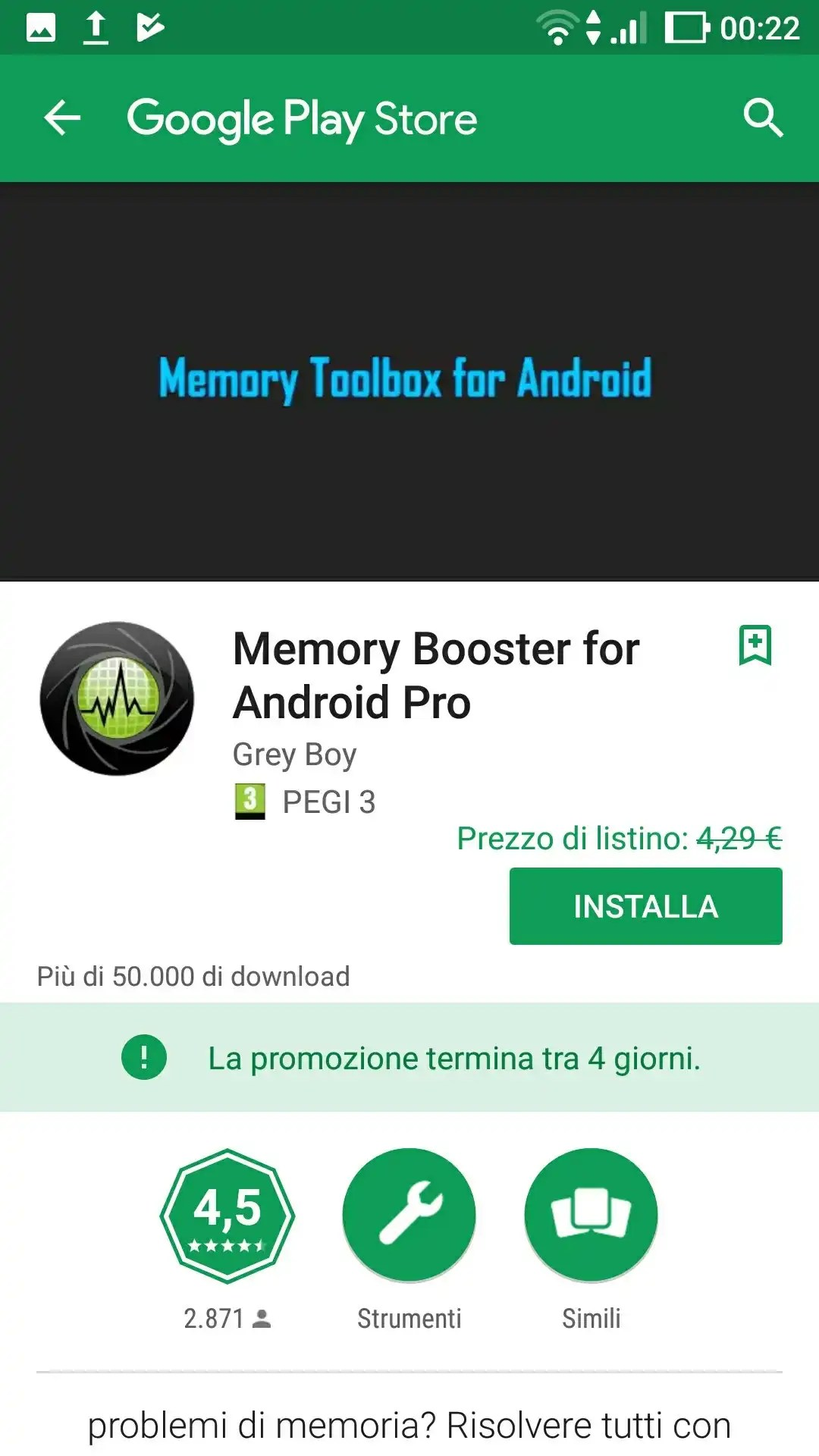 Memory Booster Pro for Android (free instead of 4.29€)