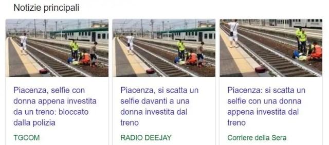 Selfie donna investita treno
