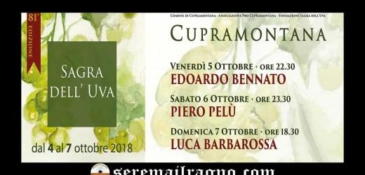 Cupramontana: 81° Sagra dell'uva, dal 4 al 7 Ottobre 2018