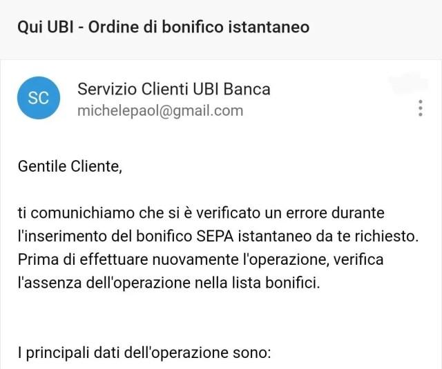 Ubi Banca bonifico istantaneo