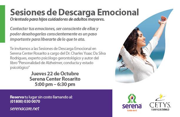 Flyer de las sesiones de descarga emocional (orientado para hijos cuidadores de adultos mayores)