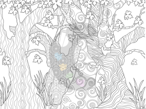 Trees coloring book