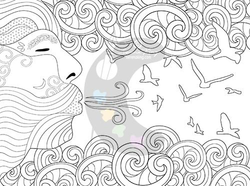 Air Element - Adult Coloring Page