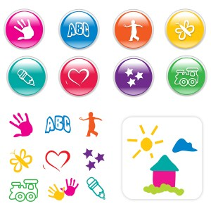 A set of icons and cliparts for kids stuff.