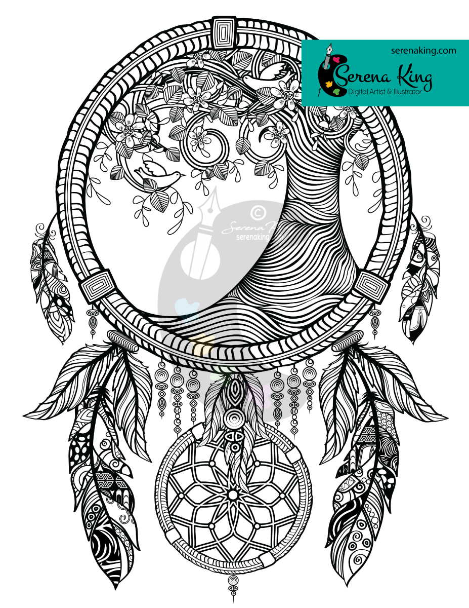 - Tree Dreamcatcher Coloring Page