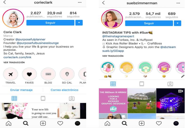 Ejemplos de portadas destacadas en Instagram