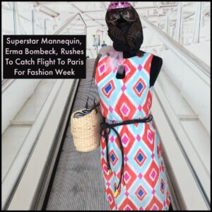 Alt = Superstar Mannequin Erma Bombeck Rushes To Catch Flight To Paris For Fashion Week.