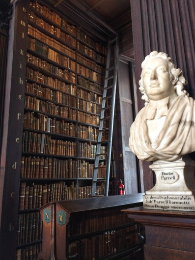 One of the many Irish politicians and thinkers memorialized in stone inside the Trinity College Library.