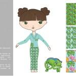 Ilustración digital, y generación de estampados para pijamas a partir d los mismos