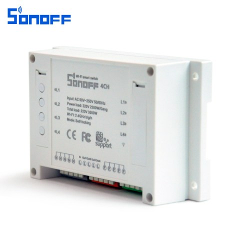 SONOFF 4CH 4 Channel 10A 2200W 2.4Ghz Smart Home WIFI Wireless Switch APP Remote Control AC 90V-250V 50 or 60Hz Din Rail Mounting Home Automation Module 3
