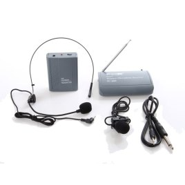 CEER VHF WIRELESS MICROPHONE WITH HEAD MICROPHONE AND CLIP ON MICROPHONE – RANGE 30 METERS – SC600