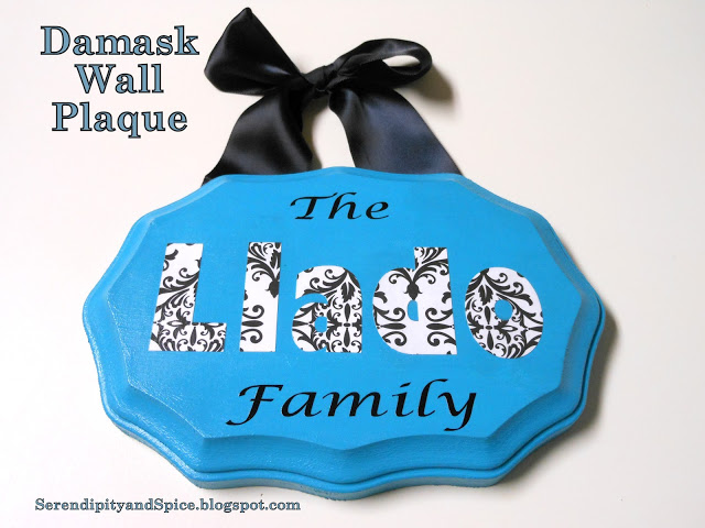 Damask Personalized Wall Plaque
