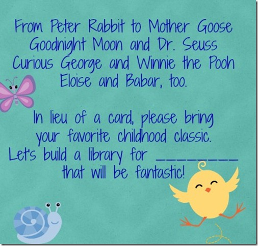 Book in Lieu of Card for Baby Shower