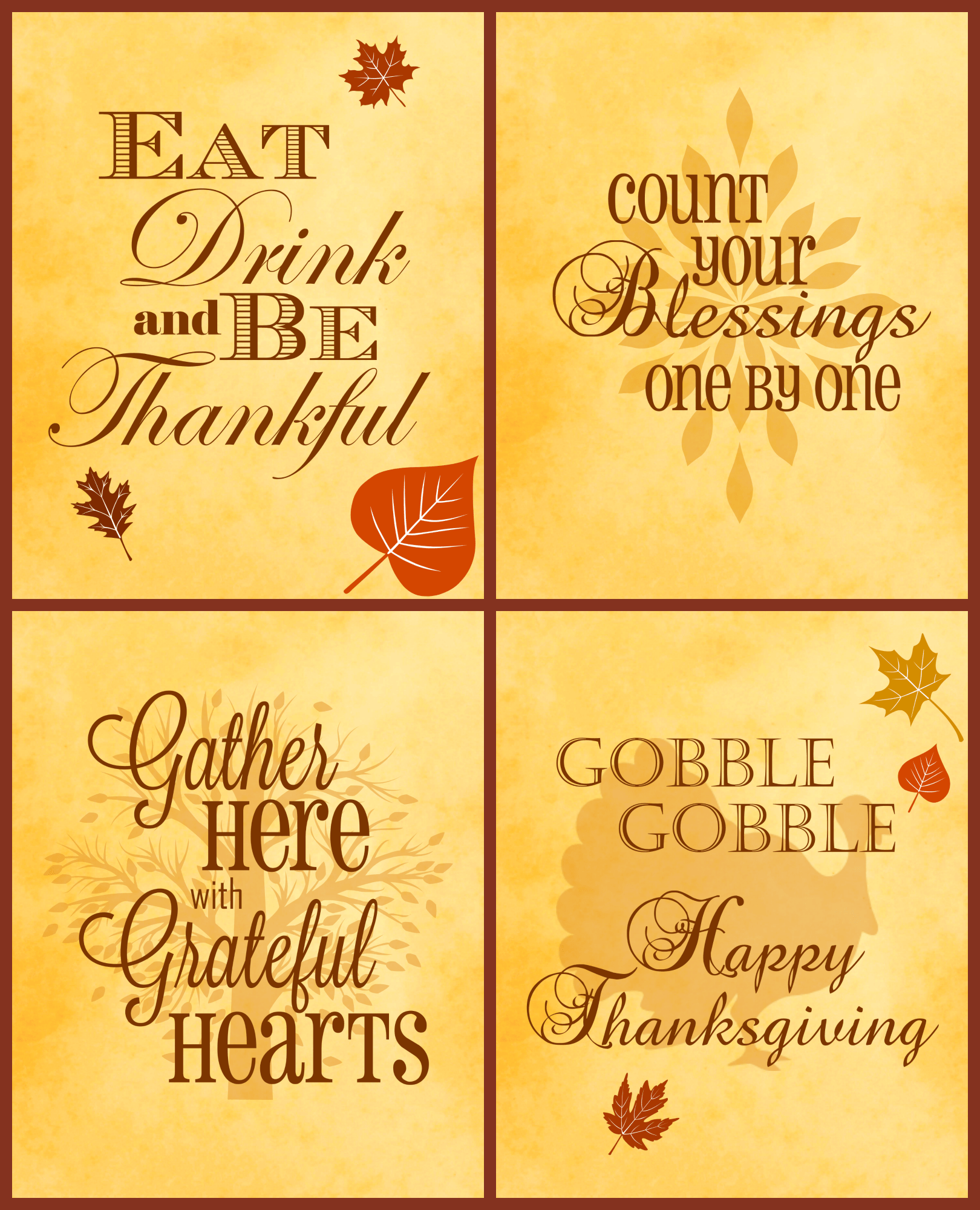 Free Thanksgiving Printables 4 Pack