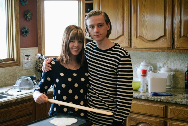 My brother and I making lefse, circa 2015.