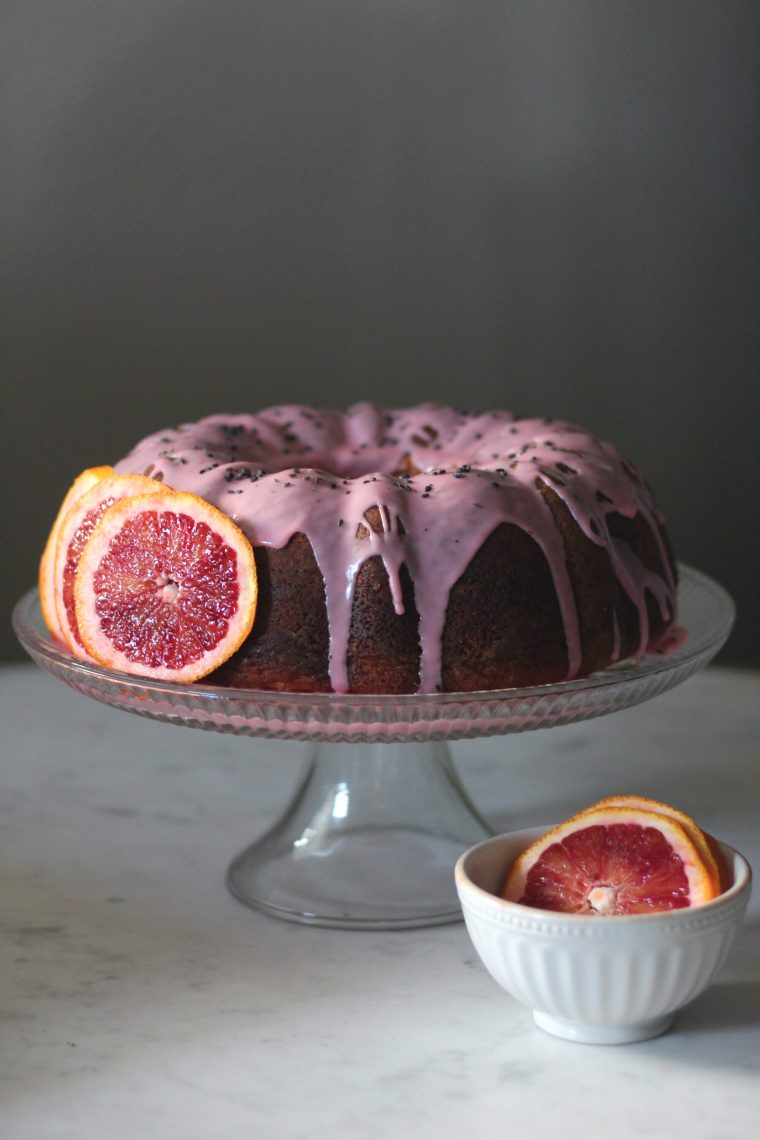 Blood Orange Pound Cake with Black Sesame Seeds