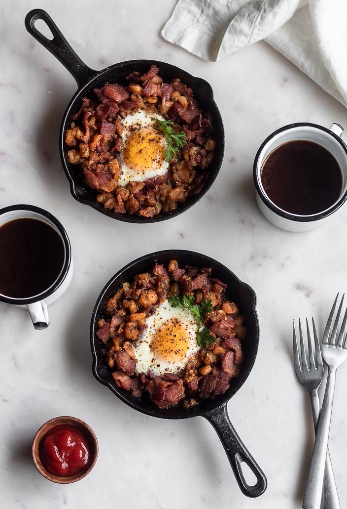 Bacon Hash with Runny Eggs & Harissa | Serendipity by Sara Lynn