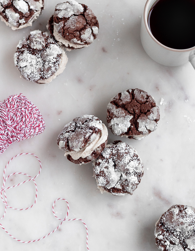 Mocha Crinkle Cookie Sandwiches | Serendipity by Sara Lynn