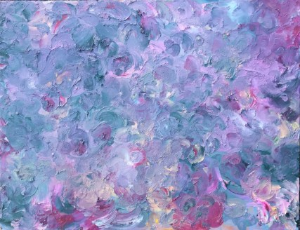 "Odette's Influence — oil paint sticks on birch panel — 18"" x 14"" — $325"