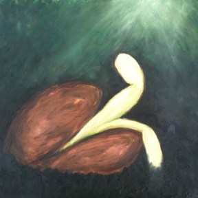 germination — oil pastels on paper, framed — $175