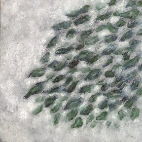 """leaves, tears — oil paint on birch panel — 6"""" x 6"""" — private collection"""