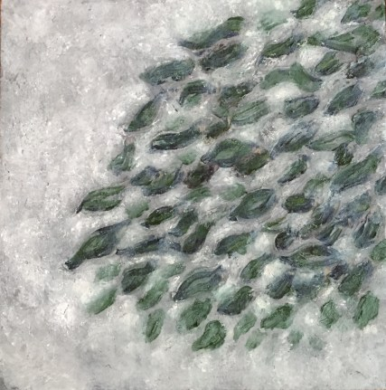 "leaves, tears — oil paint on birch panel — 6"" x 6"" — private collection"