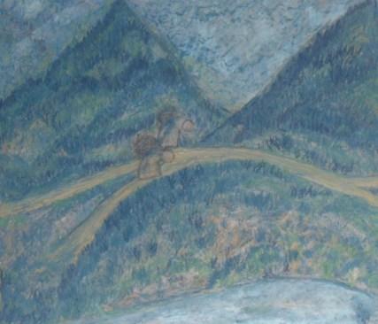 Protecting Solitude — oil pastels on paper, framed — $185