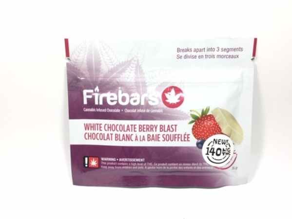 Fire Bars- White Chocolate Berry Blast (140 MG THC) edibles Serene Farms Online Dispensary