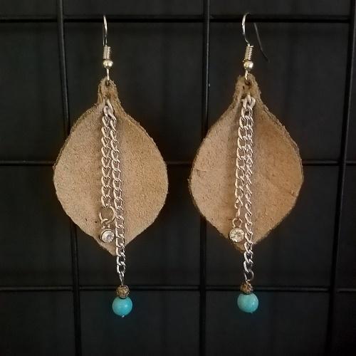 boho leather leaf earrings