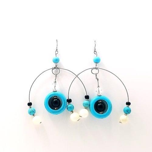 evil eye half hoop earrings