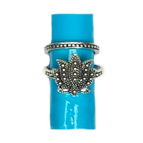 silver lotus ring set