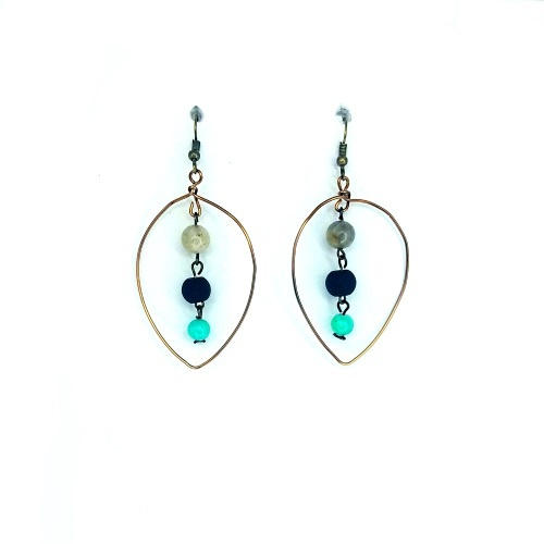 leaf labradorite earrings