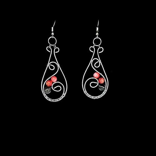wire wrapped pink shell earrings