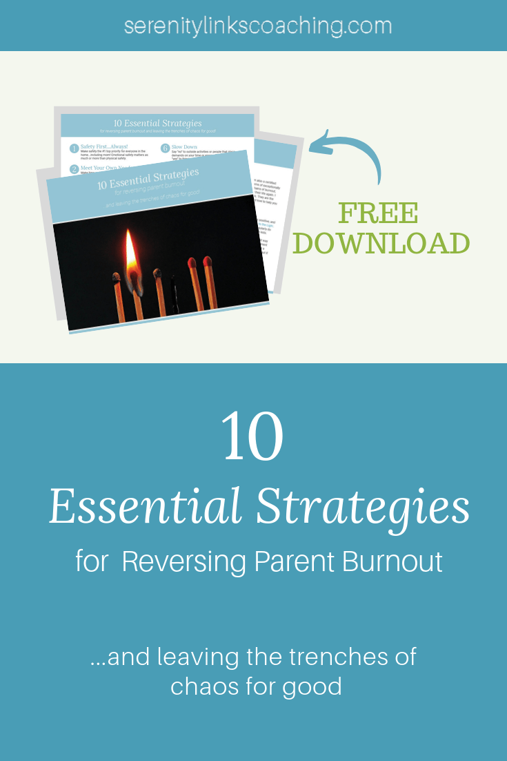 Burnout is a big deal for special needs moms! Left unchecked, parental burnout can leave us completely exhausted and do significant damage to our body, our own mental health, and our relationships. It can also have a disastrous effect on our ability to function in all areas of our life, including parenting. Request a copy of this free download and learn how to reverse burnout and leave the trenches of chaos for good! #serenitylinkscoaching #specialneedsmom #parentburnout #healingstartswithmom
