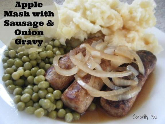 Apple Mash with Sausage and Onion Gravy recipe
