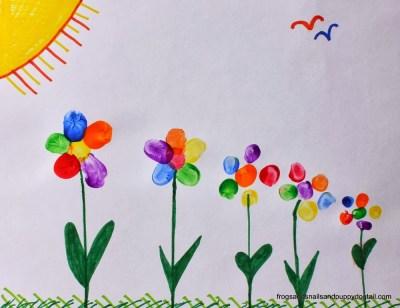 Rainbow Fingerprint Flower ~ Family Art
