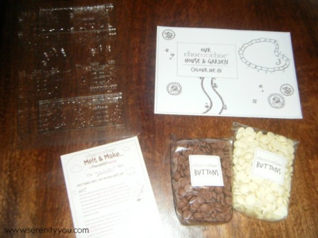 Contents of the Melt & Make Choclate house kit choc o choc