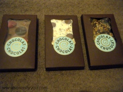 3 custom made chocolate bars from chocolat chocolat