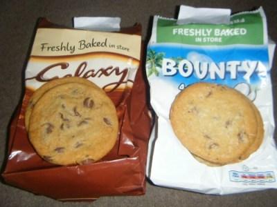 Mars Galaxy and Bounty Chocolate chip cookies