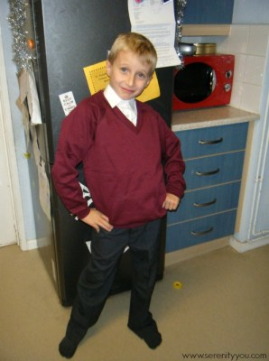 wearing his trutex school uniform